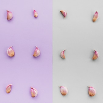 Row of garlic cloves on dual colorful background