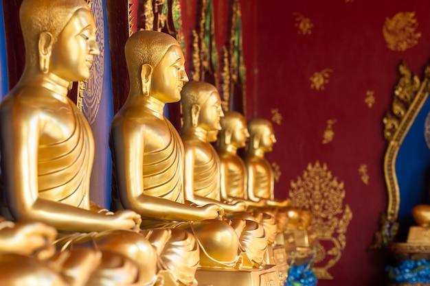 Row of golden thai's buddha statue in wat bang thong (wat mahathat wachira mongkol). it is a beautiful buddhist temple and famous temple in krabi, thailand