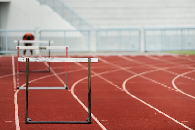 Row of hurdles for a track and field sprint hurdle race.