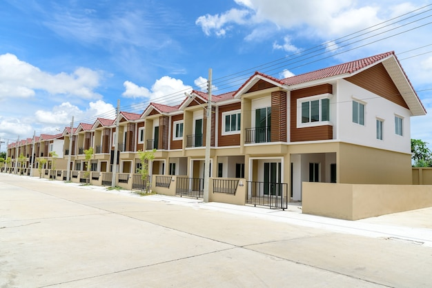 Row of just finished new brown townhouses