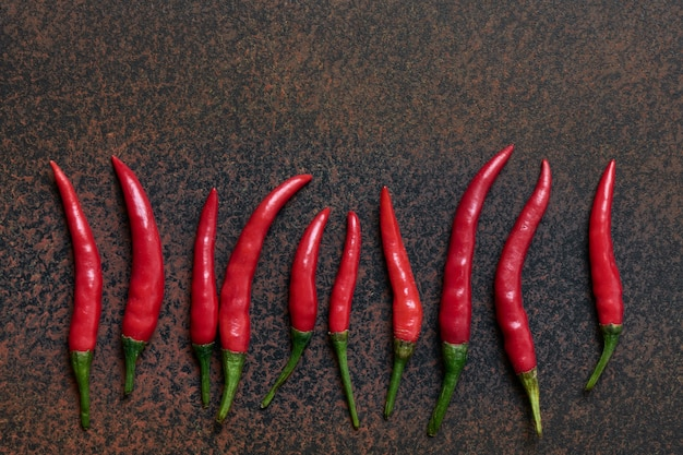 Row of lying pods of burning and spicy red chili peppers