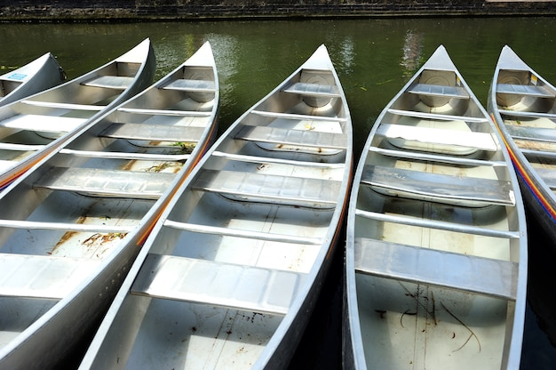 Row of metal punt in the river in cambridge