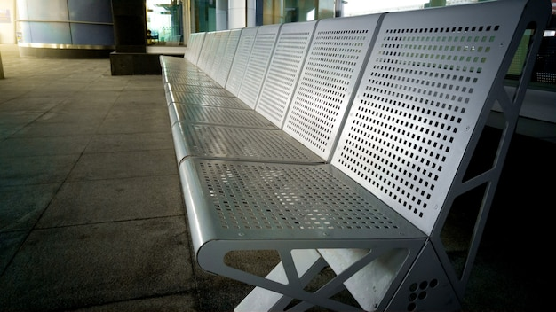 Row of metal seats at the transport station