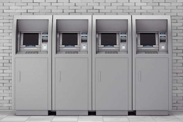 벽돌 벽 앞에 은행 현금 atm 기계가 줄지어 있습니다. 3d 렌더링