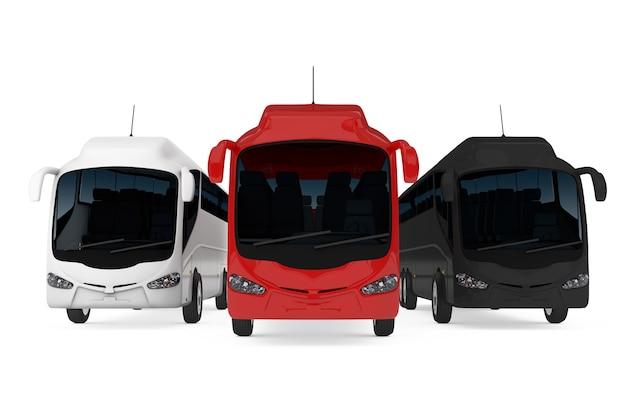 白地に大きな赤、白、黒のコーチツアーバスの列。 3dレンダリング