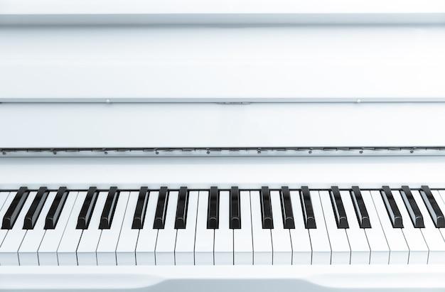 上に空白の領域がある黒と白のピアノキーボードの列。