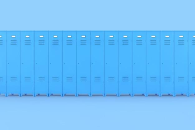 Ряд синих металлических шкафчиков спортзала на розовом фоне 3d-рендеринга