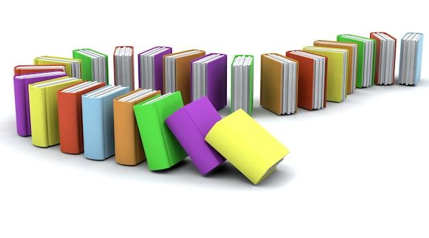 3d charicature визуализации стопку книг на белом