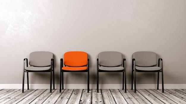 壁に対して木の床の椅子の列