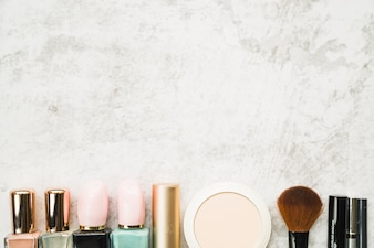 Row of different cosmetics