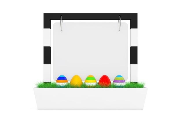 Ряд пасхальных яиц в пустой баннер настольный дисплей с травой на белом фоне 3d-рендеринга