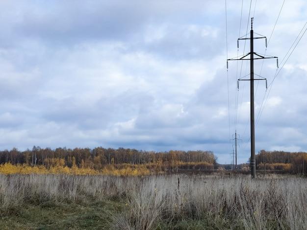 필드 시골 풍경에 걸쳐 전기 극의 행 스트레칭