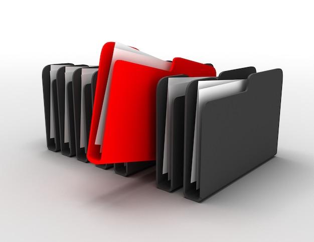 フォルダとファイルの行。白で隔離3dイラスト
