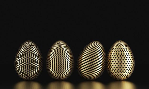Ряд золотых яиц на черном. пасха темная и бизнес-концепция. 3d визуализация