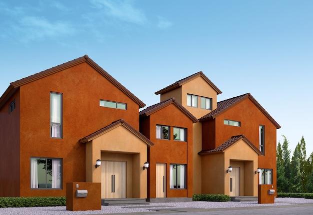 Ряд дома дом с двускатной крышей