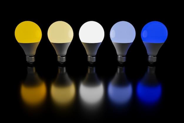 黒の背景に暖色と寒色で照らされた電球の列