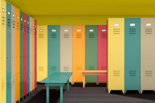 Ряд разноцветных шкафчиков со скамейкой в комнате