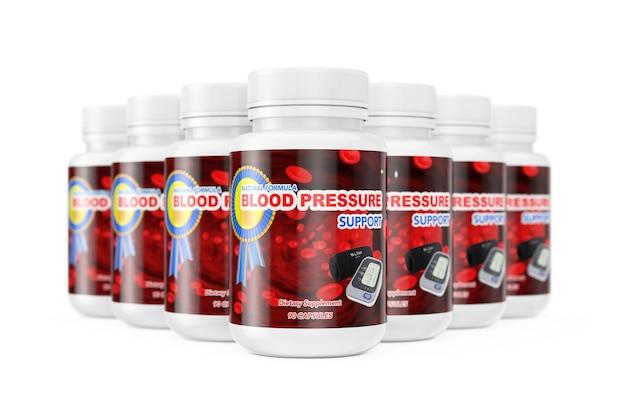 白い背景の上の血圧サポートピルのためのプラスチックボトルの列。 3dレンダリング。