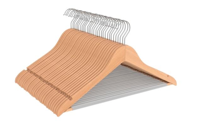 흰색 바탕에 미끄럼 방지 막대가 있는 고급 천연 마감 목재 행거. 3d 렌더링