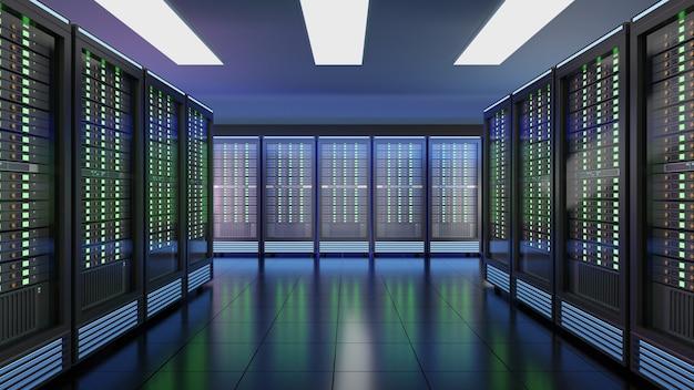 Ряд серверных стоек в центре обработки данных серверной комнаты компьютерной сети интернет-безопасности. цветное изображение синей темы. 3d-рендеринг изображения