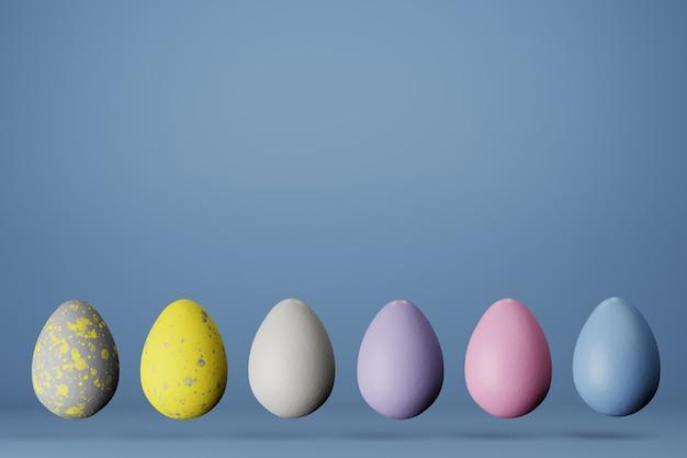 파란색 배경에 유행 색상 2021 6 부활절 달걀의 행 공간을 복사합니다. 3d 렌더링