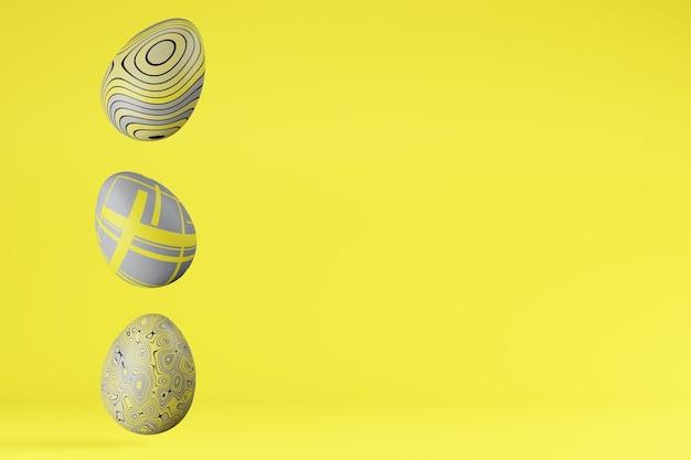 Ряд из трех пасхальных яиц в модных цветах 2021 illuminating и ultimate grey, copy space. 3d визуализация