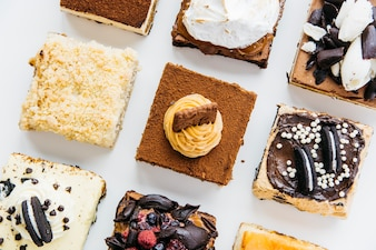 Row of various delicious pastries