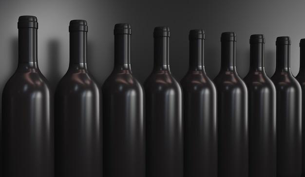 ワインボトルの列