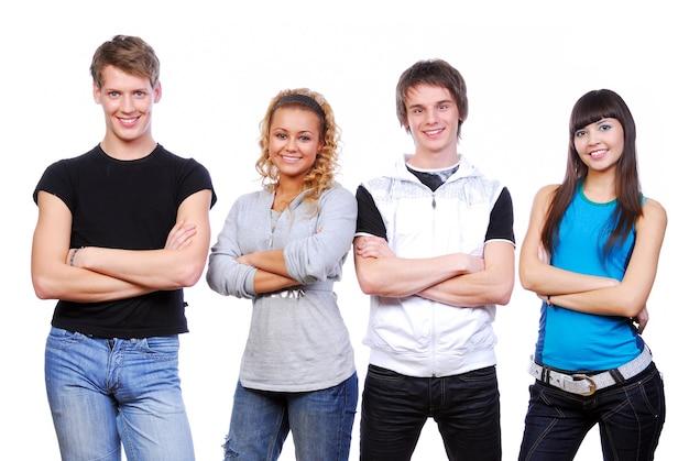 若い幸せな人々の列。白で隔離