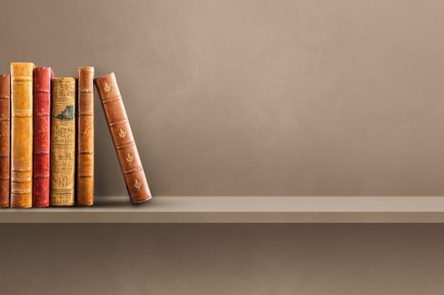 Row of old books on brown shelf. horizontal background scene