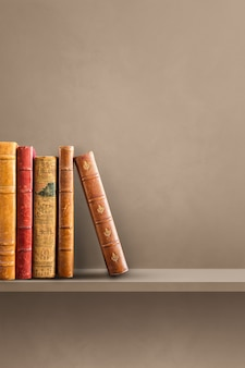 Row of old books on brown shelf. vertical background scene