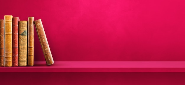 Row of old books on pink shelf. horizontal background banner