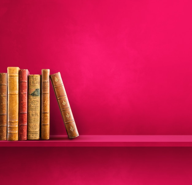 Row of old books on pink shelf. square scene background