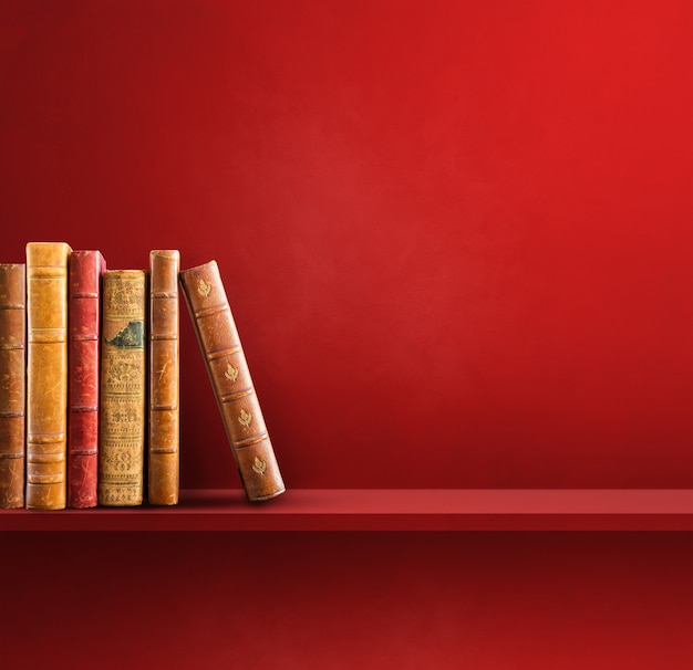 Row of old books on red shelf. square scene background