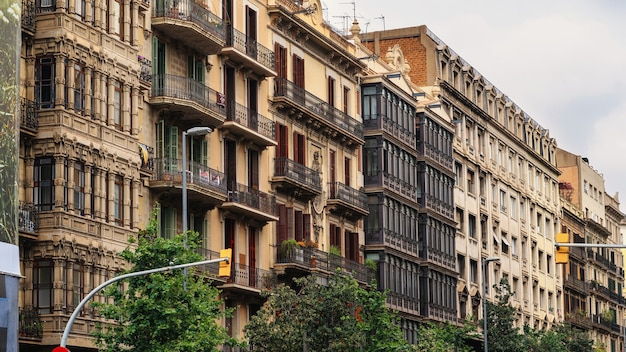 Row of old buildings made in classic style in barcelona, spain