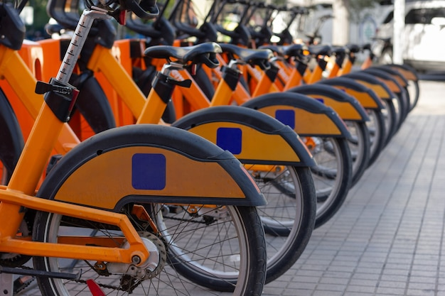Row of orange bicycles on street parking lot station public bike rental in urban city concept