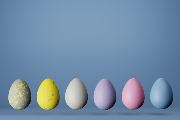 Row of six easter eggs in trendy colors 2021 on blue background, copy space. 3d render