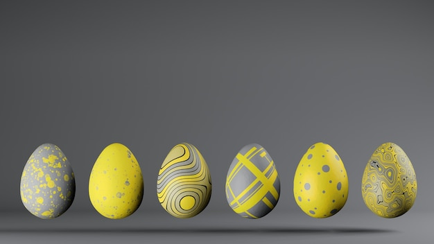 Row of six easter eggs in trendy colors 2021 illuminating and ultimate gray, copy space. 3d render
