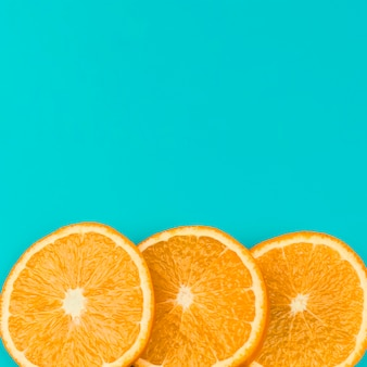Row of sliced juicy orange