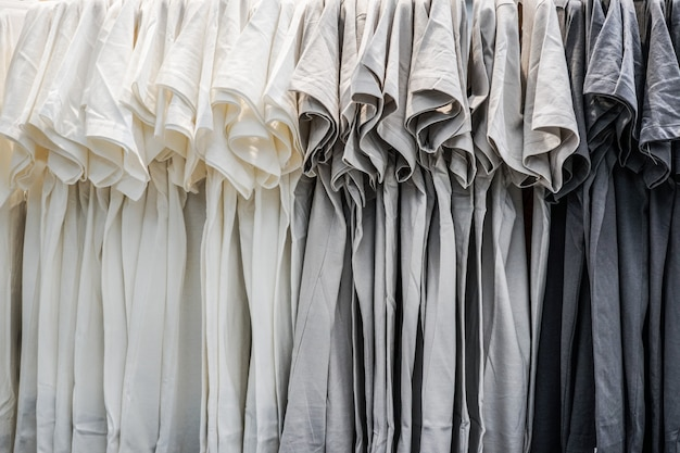 A row of t-shirt hanging on the rack