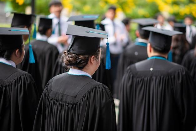 Row of university  graduates