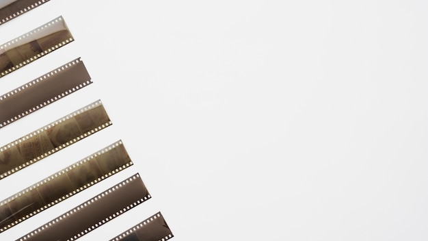 Row of unrolled film strips