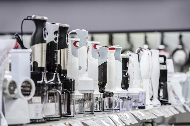 Row of variety blenders in retail store