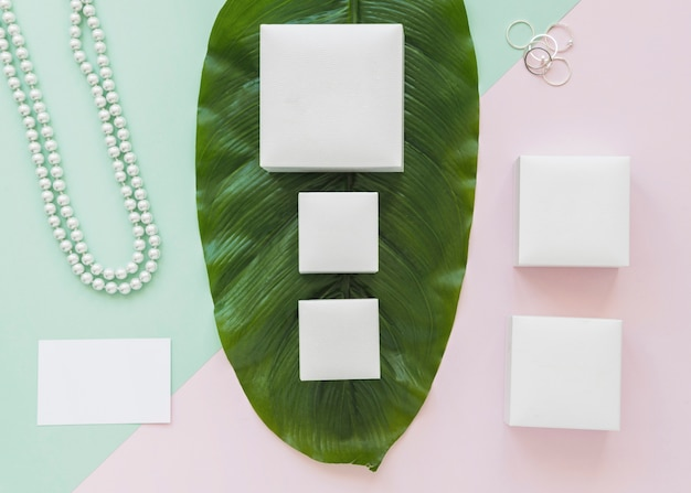 Row of white boxes on green leaf with jewelry on pastel background