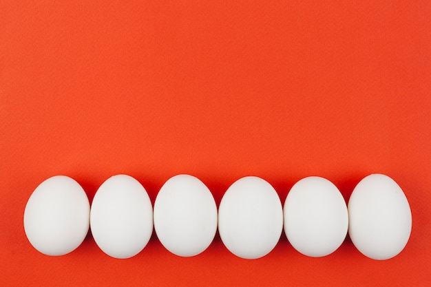 Row of white chicken eggs on table