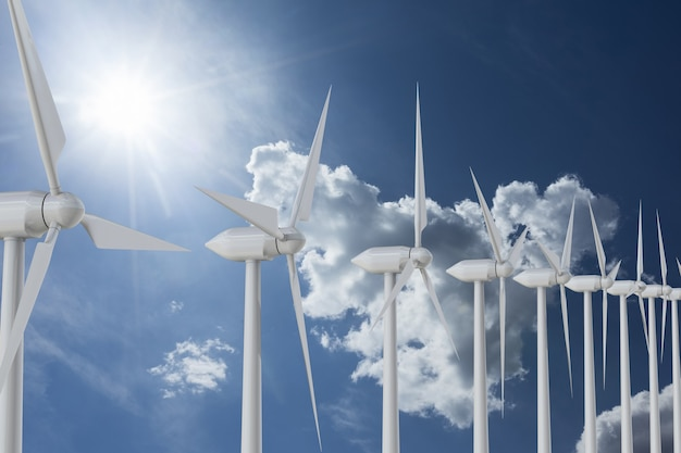 Ряд ветряных мельниц на небе. 3d рендеринг