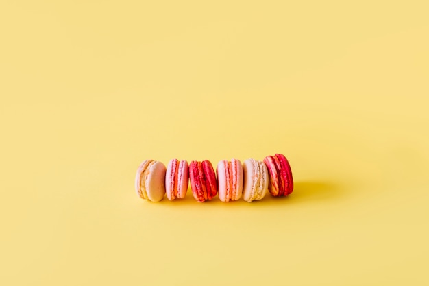 Row of yummy macaroons