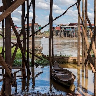 Rowboat in tonle sap lake, kampong phluk, siem reap, cambodia