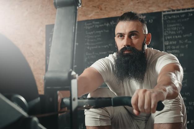 Rowing machine. gym.