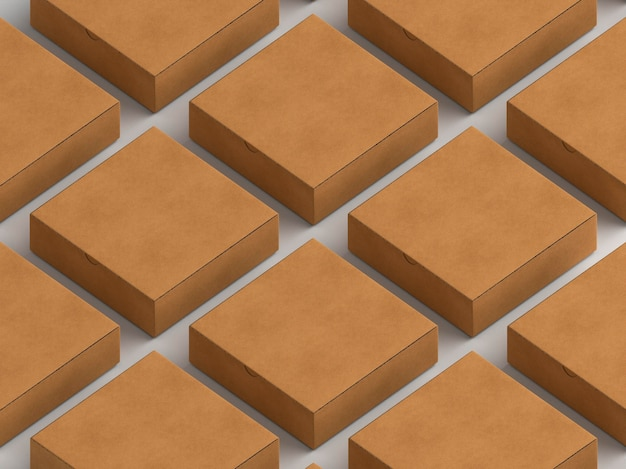 Ряды и столбцы простых картонных коробок